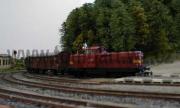 T444.0280 vjíľdí do Kaplice s manipulačním vlakem.